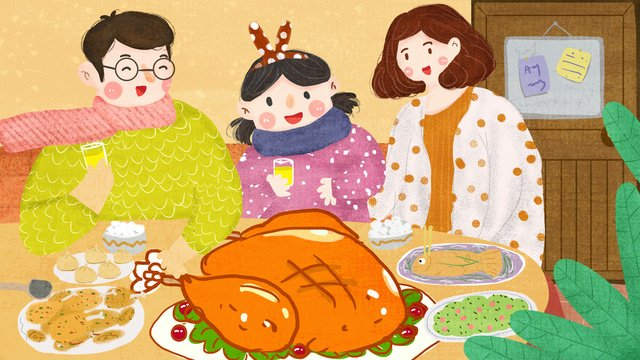Thanksgiving day a family of three mom and dad daughters eating turkey hand-painted oil painting, Thanksgiving, A Family Of Three, Father illustration image