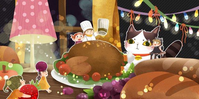 추수 감사절 엘프와 고양이 요리 터키 저녁 식사 삽화 소재