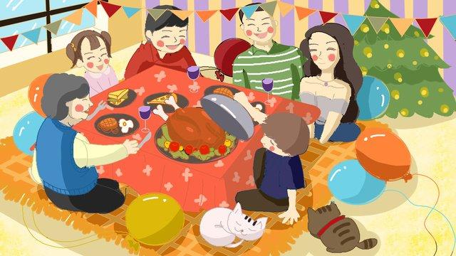 추수 감사절 가족 따뜻한 그림을 축 하하기 위해 테이블에서 식사 삽화 소재 삽화 이미지