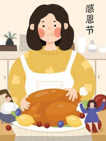 추수 감사절에 칠면조 저녁 식사를 즐기십시오 삽화 소재