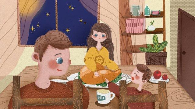 추수 감사절 가족 함께 앉아 로스트 치킨을 먹고 삽화 소재 삽화 이미지