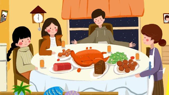 추수 감사절 가족 먹는 로스트 치킨 일러스트 레이션 삽화 소재 삽화 이미지