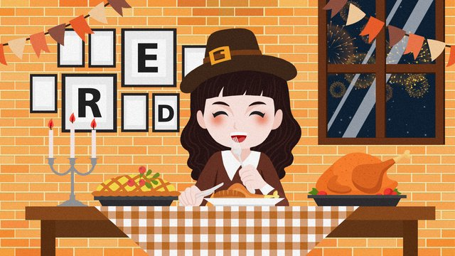만화 추수 감사절 칠면조 저녁 식사 그림 삽화 소재 삽화 이미지