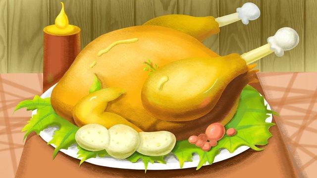 추수 감사절 볶은 터키 저녁 식사 삽화 소재 삽화 이미지