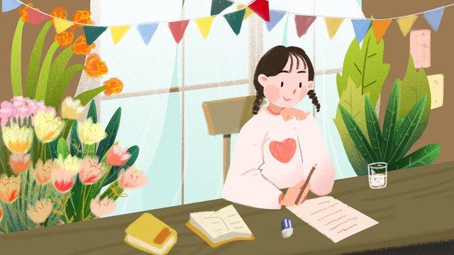 추수 감사절 소녀 씁니다 감사합니다 삽화 소재 삽화 이미지