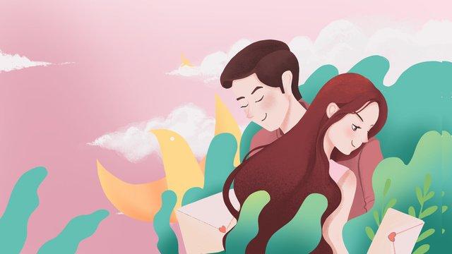 당신의 낭만적 인 사랑의 일러스트레이션에 감사드립니다 삽화 소재 삽화 이미지
