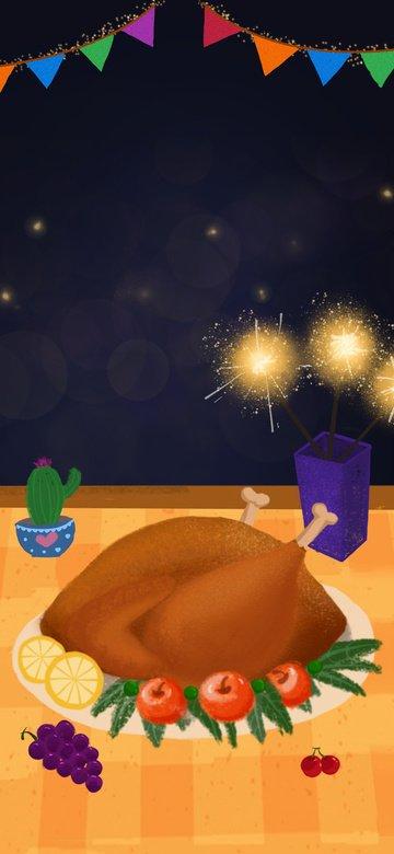 추수 감사절 저녁 미식 터키 만화 일러스트 레이션 삽화 소재