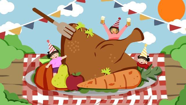 추수 감사절 야생 칠면조 파티 그림 삽화 소재 삽화 이미지