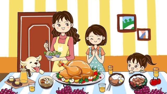 추수 감사절 칠면조 저녁 식사 원본 그림 삽화 소재 삽화 이미지