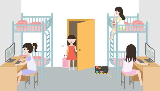 original university school girls bedroom small fresh wallpaper illustration llustration image illustration image
