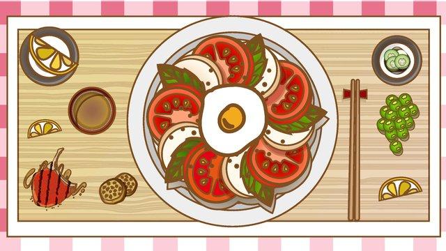 Tomato noodle food vector illustration, Tomato, Vector, Cartoon illustration image