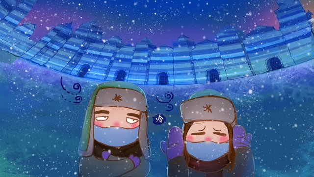 The harbin ice and snow world in tourism is a bit cold llustration image
