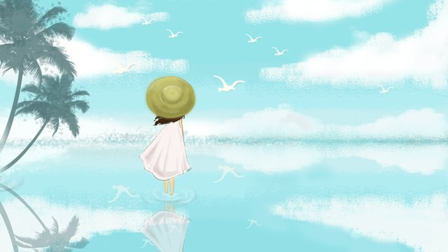 세계 관광의 날 푸른 하늘 흰 구름 삽화 소재