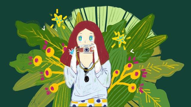 original little girl jungle travel llustration image illustration image