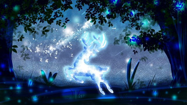 deer forest starry sky elf good night cure illustration llustration image
