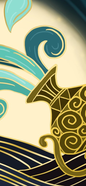12 constellation aquarius fantasy exotic romantic gold gradient illustration llustration image