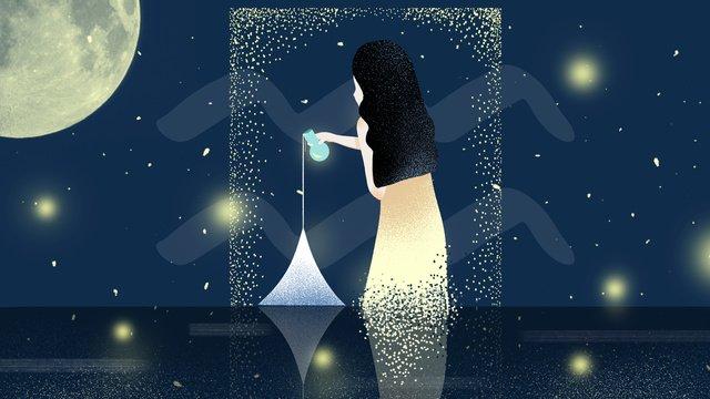 Twelve constellation aquarius original illustration, Twelve Constellations, Aquarius, Illustration illustration image