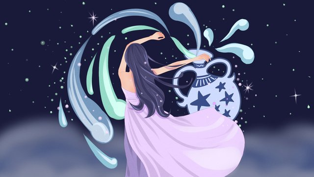 the beautiful illustration of girl who dumped water bottle in aquarius 12 constellations llustration image illustration image
