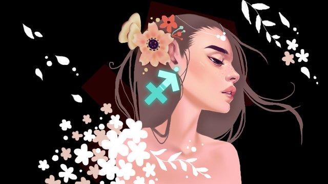 12 constellation series shooter girl illustration llustration image illustration image