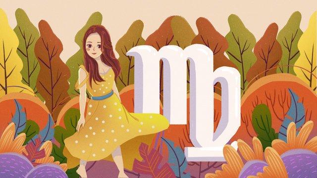 12 constellations virgo forest girl illustration llustration image illustration image