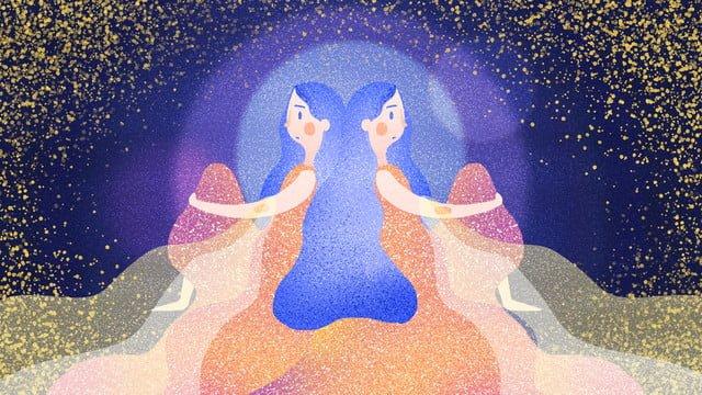 twelve constellations gemini llustration image