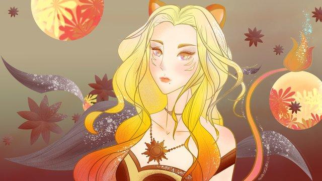 Twelve constellation queen leo, Twelve Constellations, Leo, Girl illustration image
