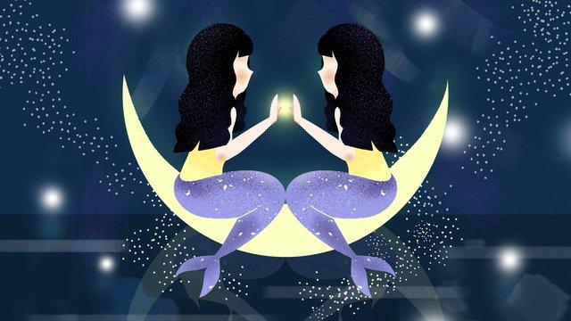 Twelve constellation pisces original illustration, Twelve Constellations, Pisces, Illustration illustration image