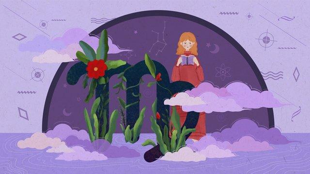 12 constellations purple virgo llustration image illustration image