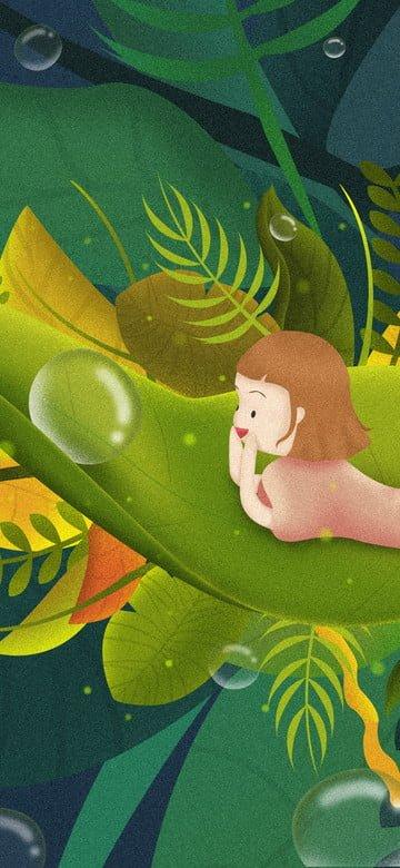 Twenty four knots cold dew little girl licking on the leaves seeing bubbles llustration image illustration image