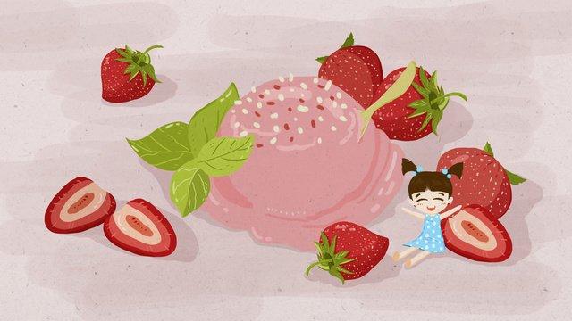 Summer strawberry ice cream gourmet original illustration, Twenty-four Solar Terms, Summer, Summer illustration image