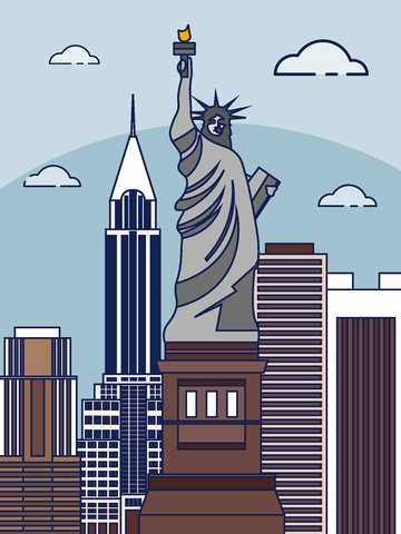 City cartoon vector illustration, United States, Cartoon, Vector illustration image