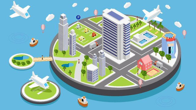 simple business style micro scene 2 5d city life vector illustration llustration image