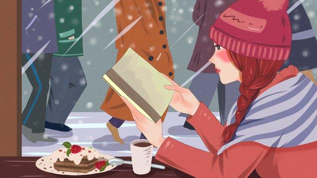 fresh illustration of girl reading in city life cafe llustration image illustration image