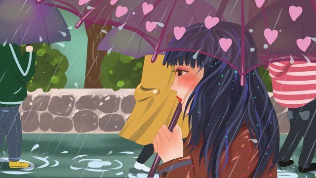 City life in the rain standing on street with an umbrella girl llustration image illustration image