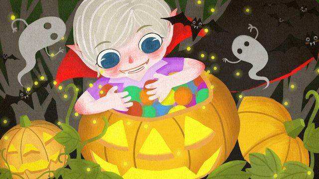 Halloween ma cà rồng dễ thương minh họaMa  Cà  Rồng PNG Và PSD illustration image