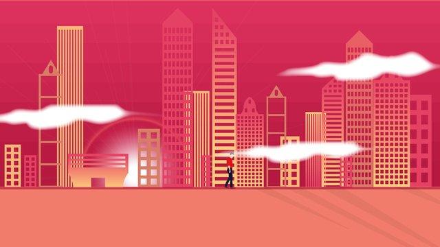 Vector illustration city silhouette sunset, Vector, City, Silhouette illustration image