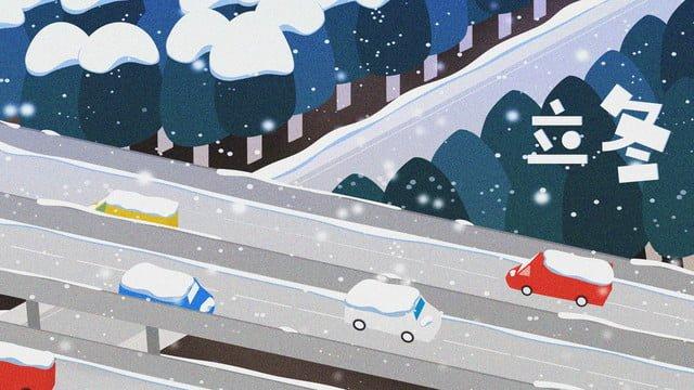 벡터 평면 작은 신선한 그림 겨울 눈 덮인 풍경 삽화 소재 삽화 이미지