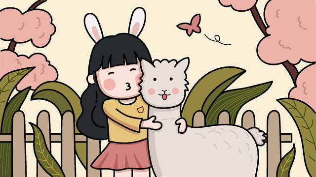 Cute girl and alpaca original illustration, Vector Illustration, Cute Style, Bunny Girl illustration image