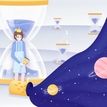 Original illustration vector fantastic space starry hourglass small prince, Vector, Illustration, Original illustration image