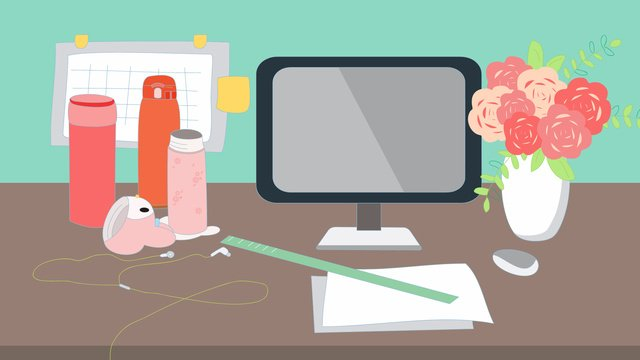 vector office furnishings desk overtime illustration llustration image