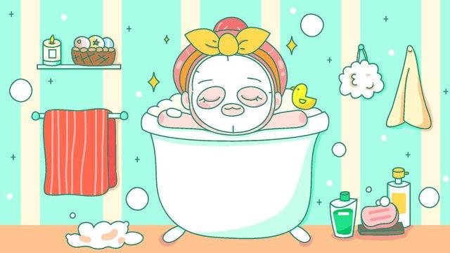 girl skin care mask bath world beauty day vector illustration llustration image illustration image