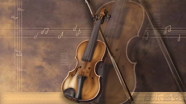 Violin vintage music feast, Violin, Realistic And Delicate, Background illustration image