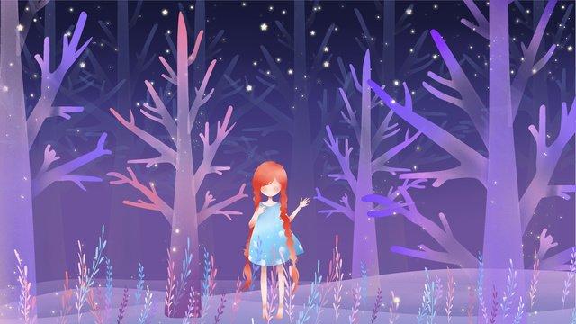 森の中の女の子は美しく、新鮮で通気性があります イラストレーション画像 イラスト画像