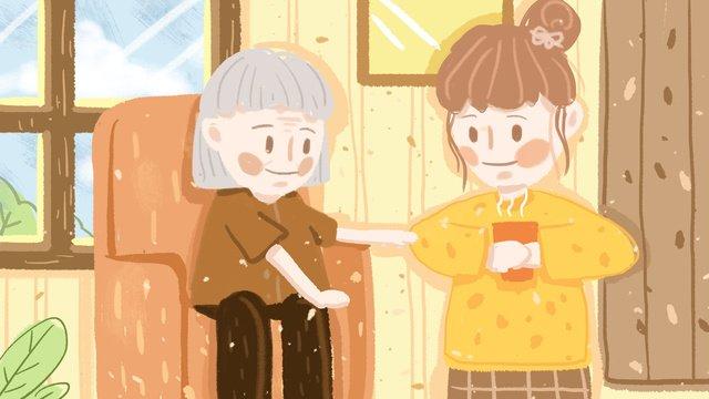 Warm care for the elderly scene original illustration llustration image illustration image