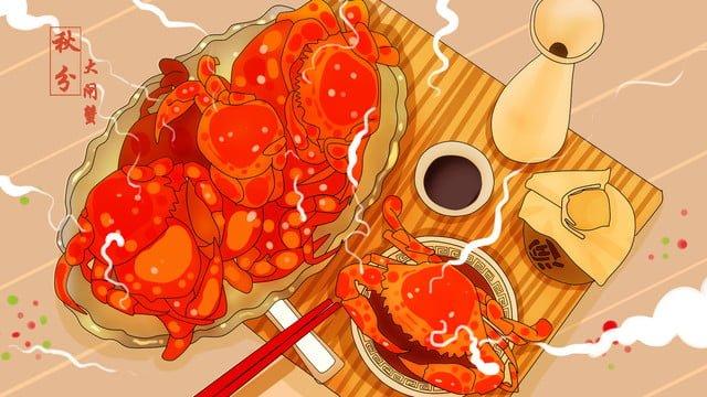 ilustrasi kepiting gourmet warna hangat imej keterlaluan