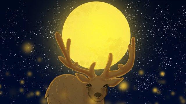 달과 별 아래의 사슴을위한 따뜻한 치유 시스템 삽화 소재