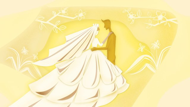 婚禮剪紙風賀卡黃色調溫馨 插畫素材 插畫圖片