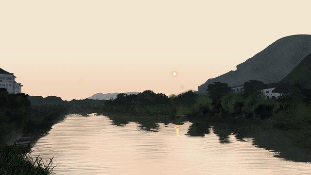 鄉村早晨日出風光 插畫素材 插畫圖片