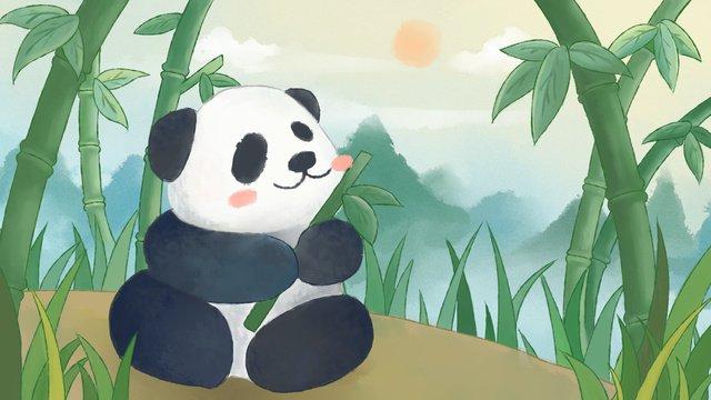 水彩の中華風かわいいパンダ イラスト素材