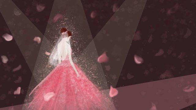結婚式のシーンピンクの結婚式 イラスト素材